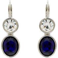 Monet Crystal Leverback Drop Earrings, Silver/Blue