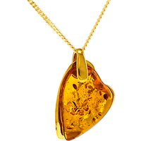 Be-Jewelled Amber Heart Pendant Necklace, Gold/Cognac