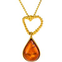 Be-Jewelled Amber Teardrop Pendant Necklace, Gold/Cognac