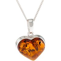 Be-Jewelled Baltic Amber Heart Pendant Necklace, Silver/Cognac
