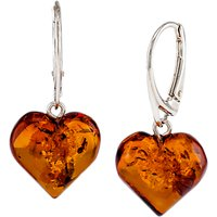 Be-Jewelled Sterling Silver Amber Heart Earrings, Silver/Cognac