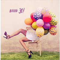UK Greetings Balloons 30th Birthday Card