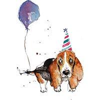 Louise Mulgrew Basset Hound With Balloon Birthday Card