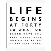 Portfolio Life Begins at 40 Birthday Card