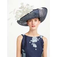 John Lewis & Partners Cindy Large Upturn Flower Detail Occasion Hat, Navy/Ivory