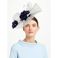 John Lewis & Partners Mair Polka Dot Floral Fascinator, Navy/Cream
