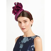 John Lewis & Partners Martha Woven Pillbox Fascinator, Burgundy