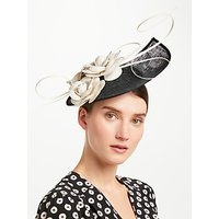 John Lewis & Partners Rebel Side Up Teardrop Fascinator, Black/Natural
