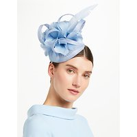 John Lewis & Partners Tasha Pillbox Large Feather Fascinator, Bluebell Blue