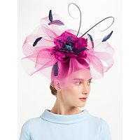 John Lewis & Partners Zena Large Crin Fascinator, Navy/Pink