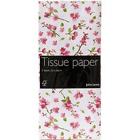 John Lewis & Partners Pink Blossom Tissue Paper, 5 Sheets