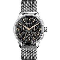 Ingersoll I00103 Men's The Regent Chronograph Date Bracelet Strap Watch, Silver/Black