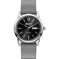 Ingersoll I00505 Men's The New Haven Automatic Day Date Bracelet Strap Watch, Silver/Black