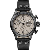 Ingersoll I02202 Men's The Armstrong Automatic Chronograph Day Date Leather Strap Watch, Black/Cream