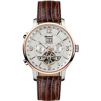 Ingersoll I00701 Mens The Grafton Automatic Chronograph Date Heartbeat Leather Strap Watch, Brown/White