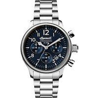 Ingersoll I03804 Men's The Apsley Chronograph Date Bracelet Strap Watch, Silver/Navy