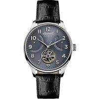 Ingersoll I04604 Mens The Hawley Automatic Date Heartbeat Leather Strap Watch, Black/Grey