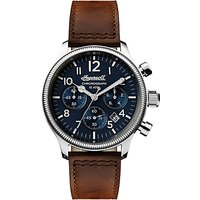 Ingersoll Mens The Apsley Chronograph Date Leather Strap Watch, Dark Brown/Navy I03803