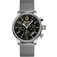 Ingersoll I02901 Men's The Apsley Chronograph Date Bracelet Strap Watch, Silver/Black