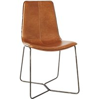 west elm Slope Leather Dining Chair, Brown
