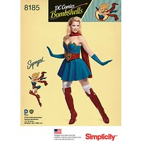 Simplicity Women's D.C. Bombshells Super Girl Costume Sewing Pattern, 8185