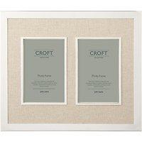 Croft Collection Silver Edge Linen Mount Double Photo Frame, 4 x 6 (10 x 15cm)