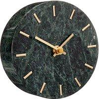 image-John Lewis & Partners Marble Analogue Mantel Clock, Green/Brass, 14cm