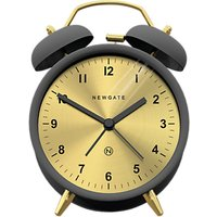 image-Newgate Clocks Charlie Bell Analogue Alarm Clock, Grey/Brass