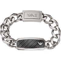 Emporio Armani Men's Stainless Steel Chunky Chain Bracelet, Black/Silver