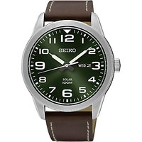 Seiko SNE473P1 Mens Conceptual Day Date Leather Strap Watch, Brown/Green