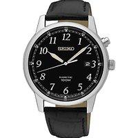 Seiko SKA781P1 Mens Conceptual Date Leather Strap Watch, Black