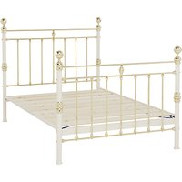 Wrought Iron And Brass Bed Co. George Bed Frame, Double, Ivory