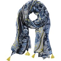 Betty Barclay Graphic Long Paisley Stripe Print Scarf, Blue/Multi