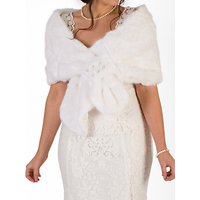 Chesca Faux Fur Pearl Wrap, Ivory