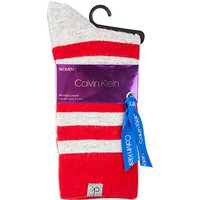 Calvin Klein Holiday Stripe Gift Wrap Ankle Socks, Crimson/Pale Grey