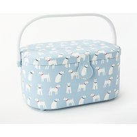 John Lewis & Partners Ralph Print Oval Sewing Basket, Blue