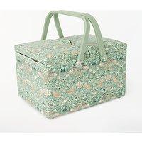 John Lewis & Partners Strawberry Thief Twin Lid Sewing Basket, Aqua