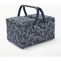 John Lewis & Partners Paisley Print Twin Lid Sewing Basket, Navy