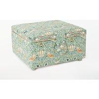John Lewis & Partners Strawberry Thief Print Small Square Sewing Basket, Aqua