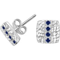 shop for Dower & Hall Lumiere Sterling Silver Square Sapphire Stud Earrings at Shopo