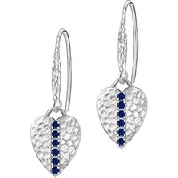 shop for Dower & Hall Lumiere Sterling Silver Heart Sapphire Drop Earrings at Shopo