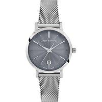 Larsson & Jennings LGN26A-CMSLV-CSG-Q-P-SGRY-O Women's Aurora Date Milanese Bracelet Strap Watch, Silver/Grey
