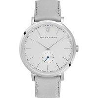 Larsson & Jennings LGN38K-LLGRY-C-Q-P-SLG-O Unisex Jura Leather Strap Watch, Grey/White