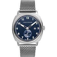 Larsson & Jennings ME38-CMSLV-HSA-Q-B-SN-O Men's Meridian Date Milanese Bracelet Strap Watch, Silver/Blue