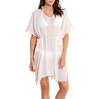 Seafolly Mini Tassel Cotton Gauze Kaftan, White/Multi
