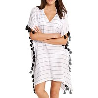 Seafolly Bali Hai Striped Kaftan, White/Black