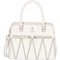 Modalu Pippa Leather Patterned Mini Grab Bag, White Choc