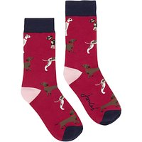 Joules Brill Bamboo Dog Print Ankle Socks, Pack of 1, Pink