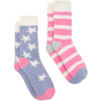 Joules Fab Fluffy Star Stripe Ankle Socks, Pack of 2, Blue/Pink