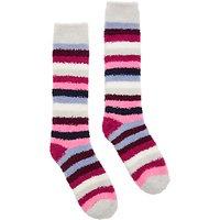 Joules Fab Fluffy Ruby Stripe Ankle Socks, Multi